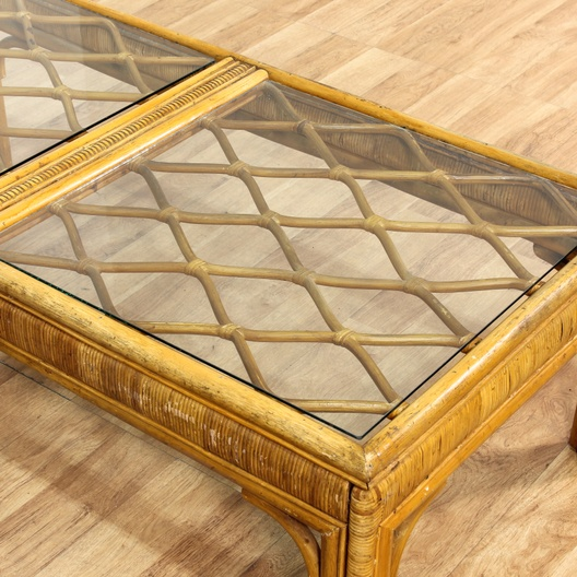 Wicker Coffee Table With Glass Top: Woven Rattan Coffee Table W/ Glass Top
