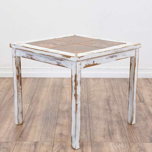 White Shabby Chic Terra Cotta Top Side Table