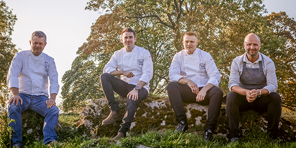From left: Adam Bennett, Team UK coach; UK's 2019 candidate Tom Phillips and his commis Nathan Lane; and Simon Rogan, Bocuse d'Or UK president