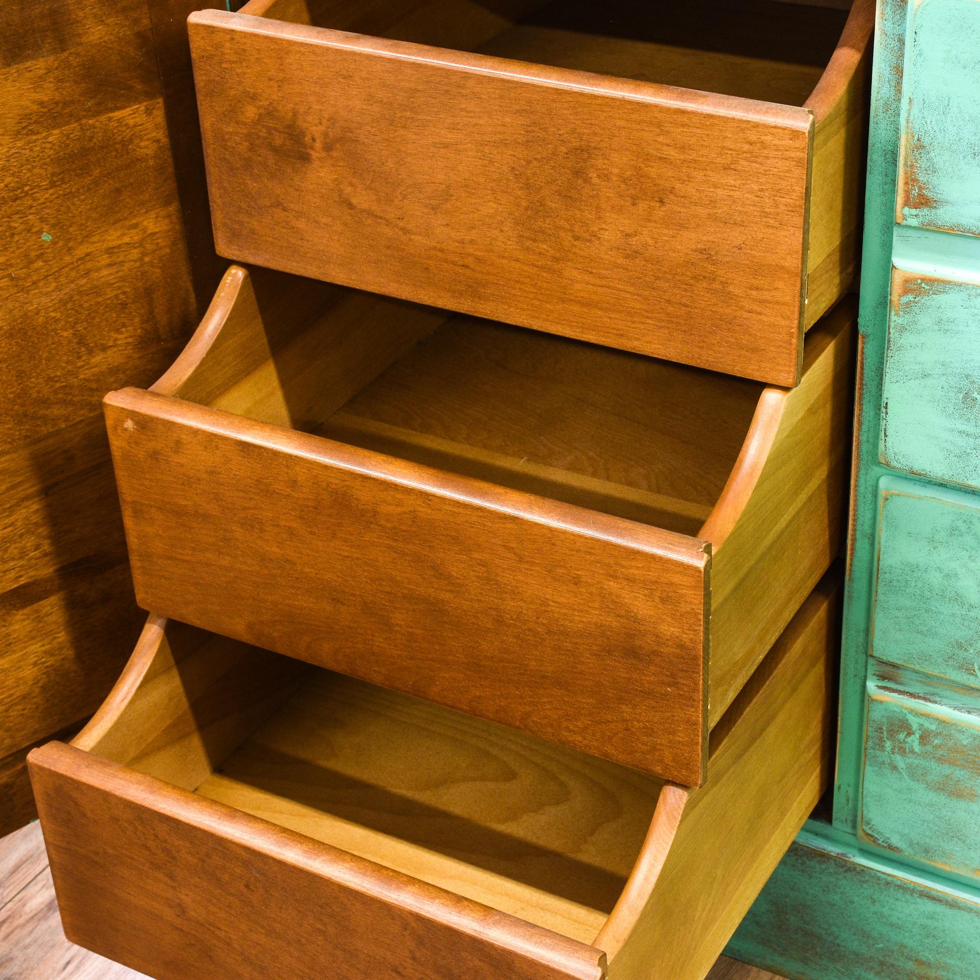 distressed green shabby chic 5 drawer dresser loveseat vintage furniture san diego los angeles. Black Bedroom Furniture Sets. Home Design Ideas