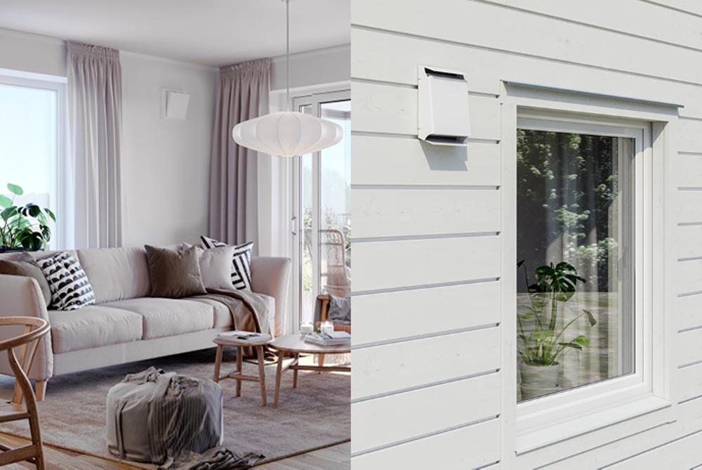 Ett kollage som visar Fresh Flow FDX i ett vardagsrum samt utomhus på en träfasad.