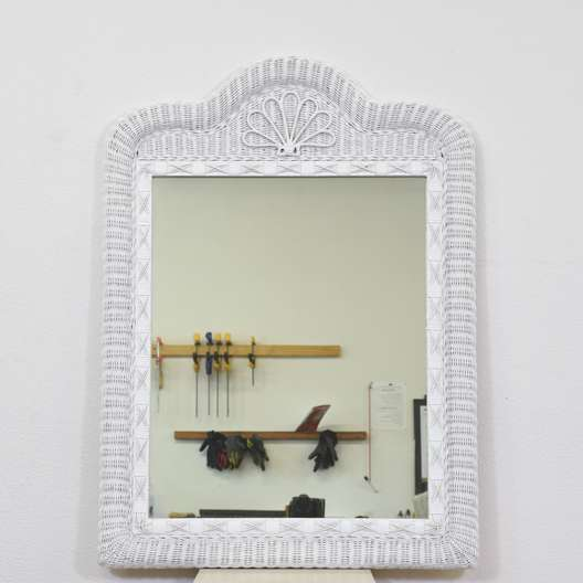 Woven White Wicker Mirror