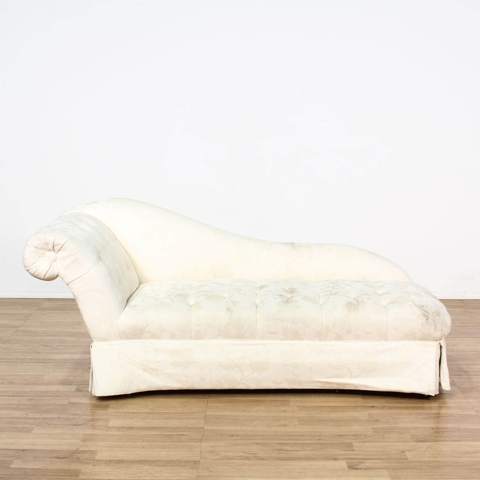 Curved white floral tufted chaise lounge loveseat for Alaina tufted chaise in white