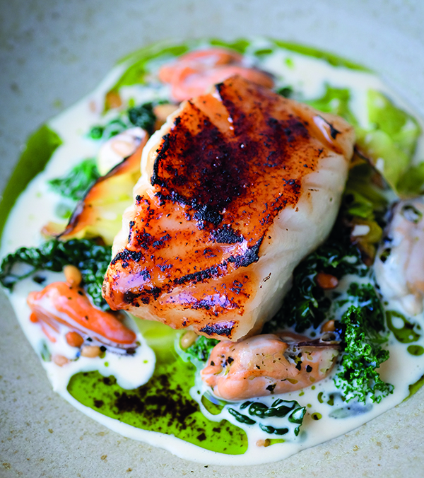 Miso-glazed cod with brassicas, mussels and pine nuts
