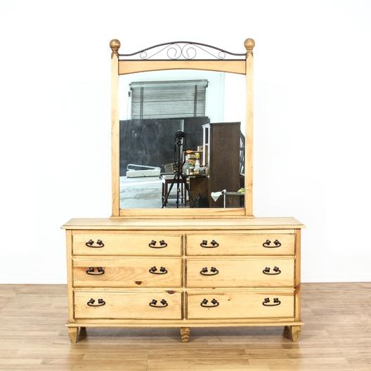 rustic pine iron dresser w mirror loveseat vintage furniture los angeles. Black Bedroom Furniture Sets. Home Design Ideas