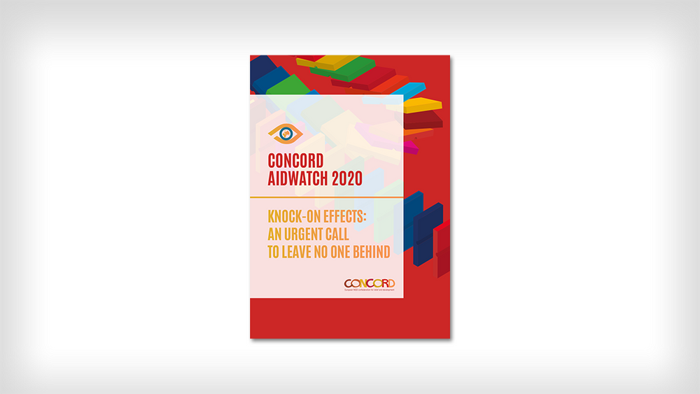 """Framsidan av AidWatch-rapporten 2020 """"Knock-on effects: an urgent call to leave no one behind"""""""