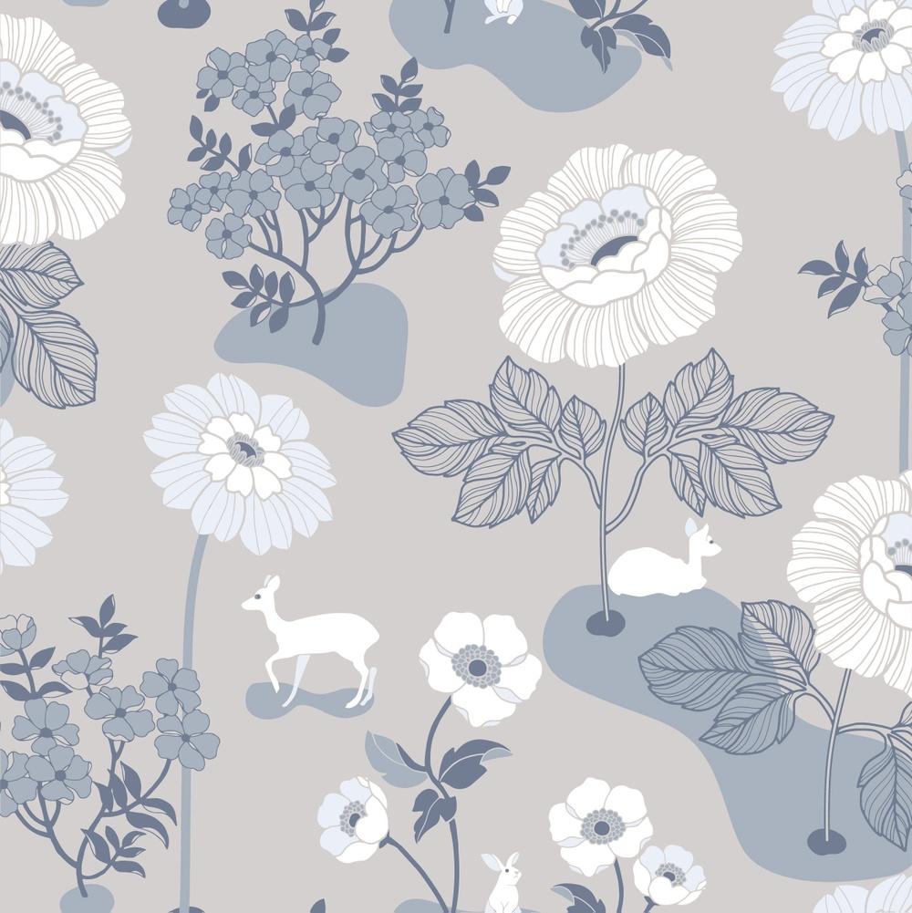 398-04 Blomsteräng grå/blå