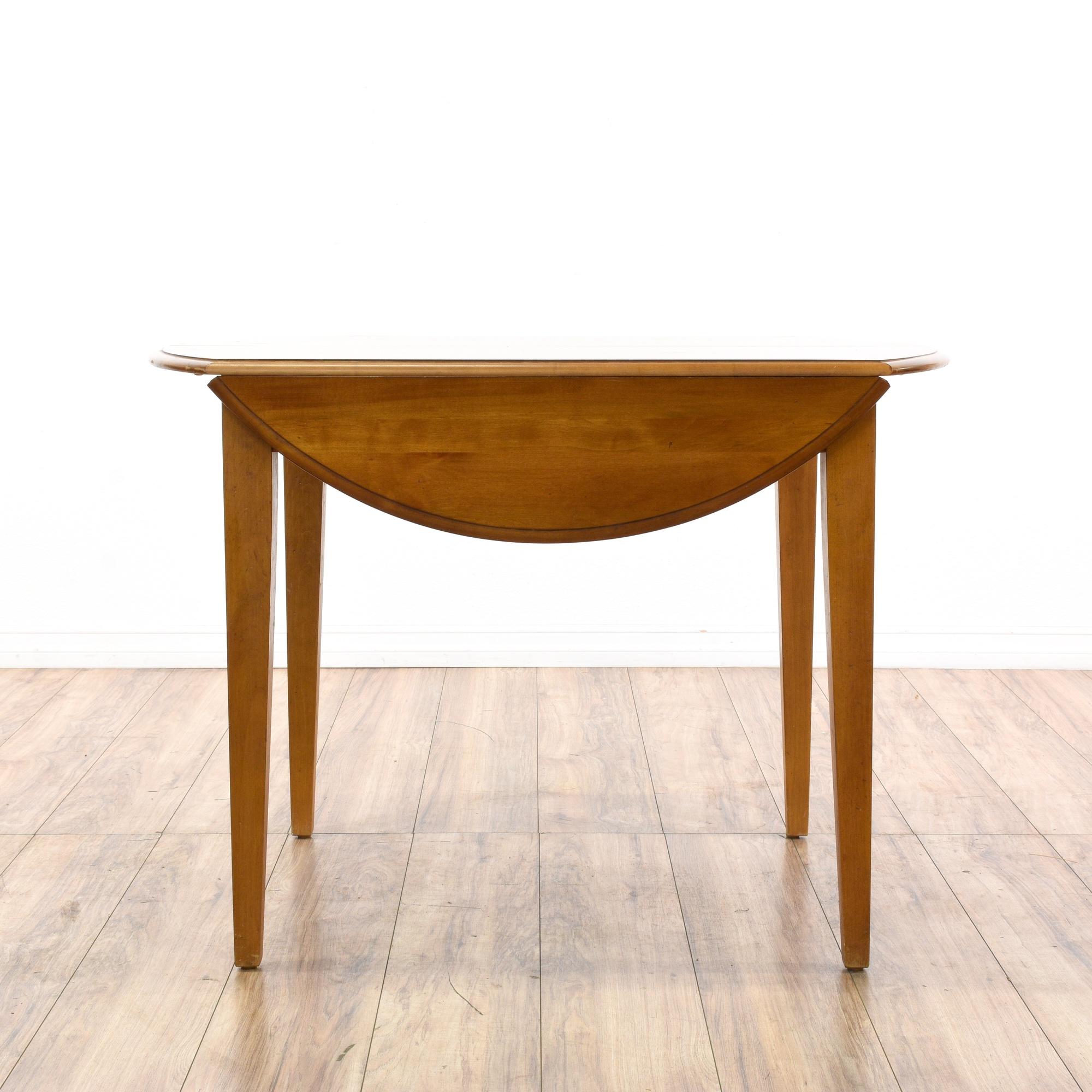 Round maple drop leaf dining table w 1 leaf loveseat for Round dining table w leaf