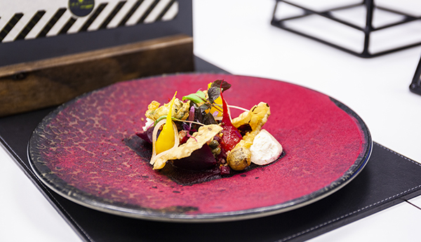 Sam Walton's home-grown beetroot baked in coffee grounds, wasted ricotta, coffee flour crisp