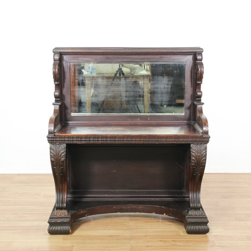 Carved Mahogany Mirrored Victorian Server Loveseat