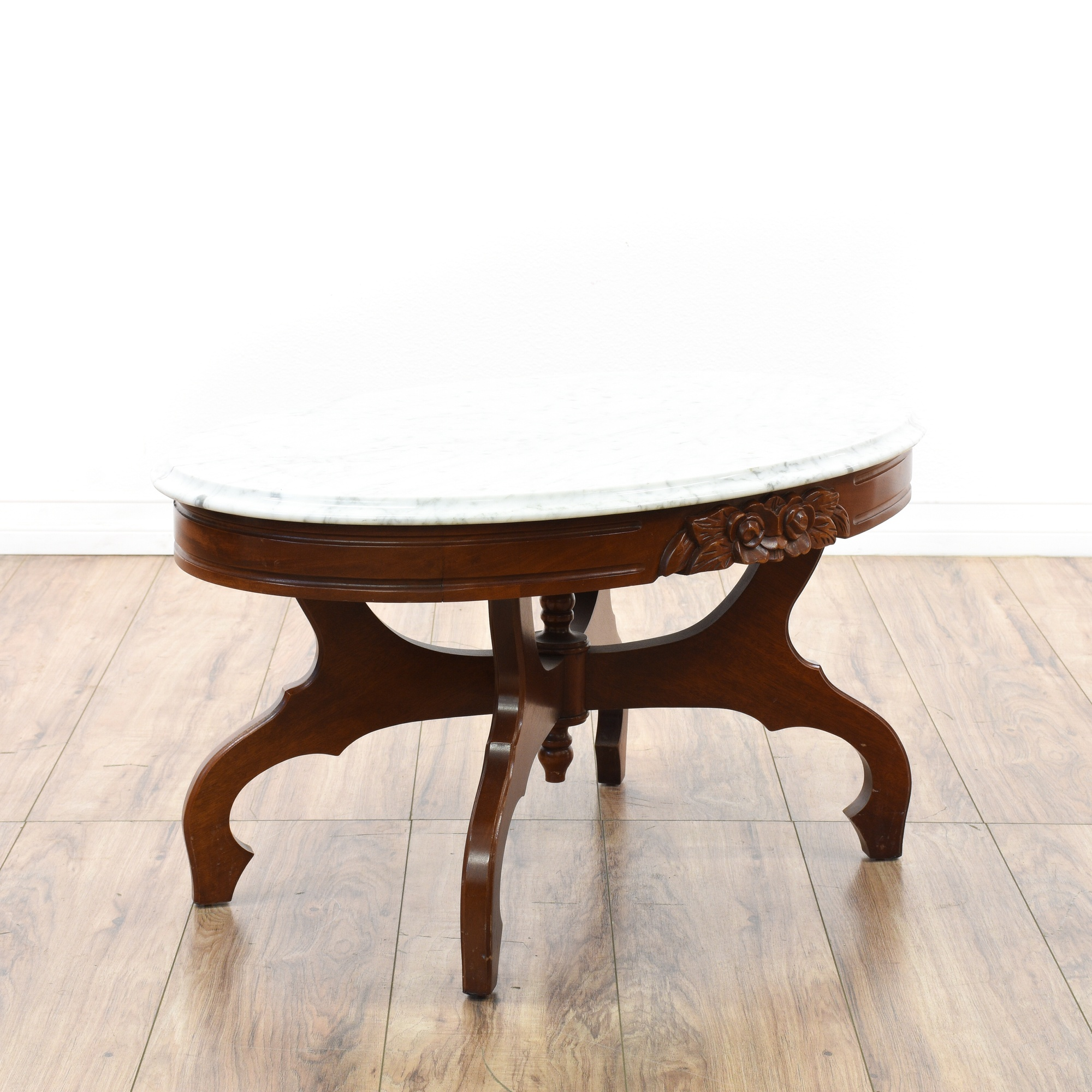 Old Marble Top Coffee Table: Victorian Cherry Carved Marble Top Coffee Table