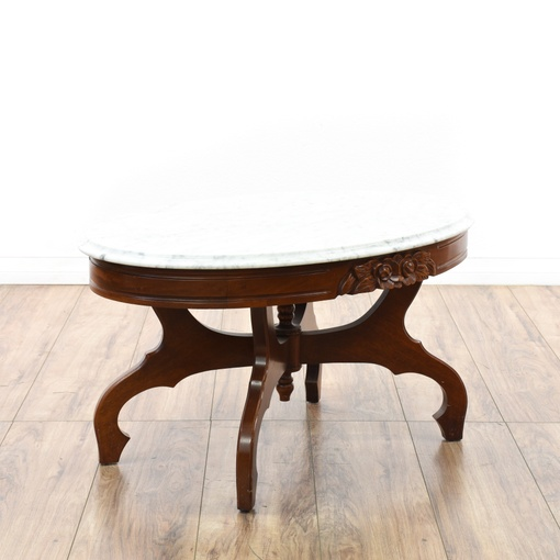 Antique Marble Coffee Table Set: Victorian Cherry Carved Marble Top Coffee Table