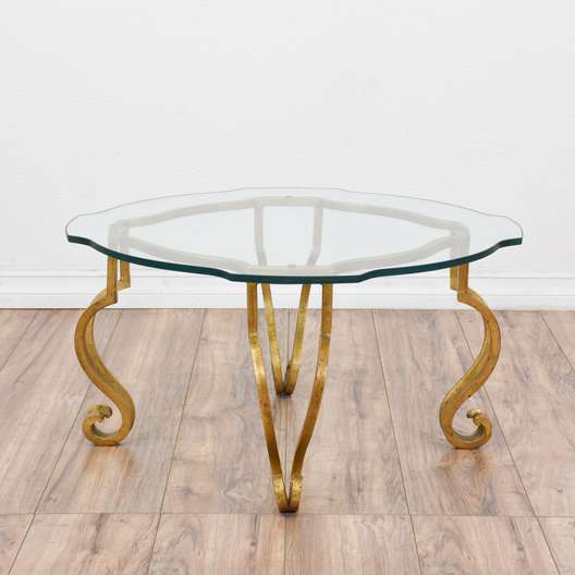 Gold Regency Glass Top Coffee Table