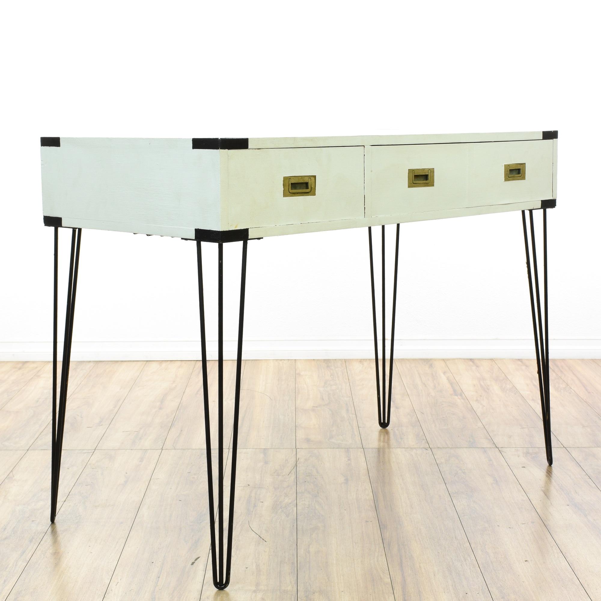 Modern White Hairpin Leg 2 Drawer Writing Desk