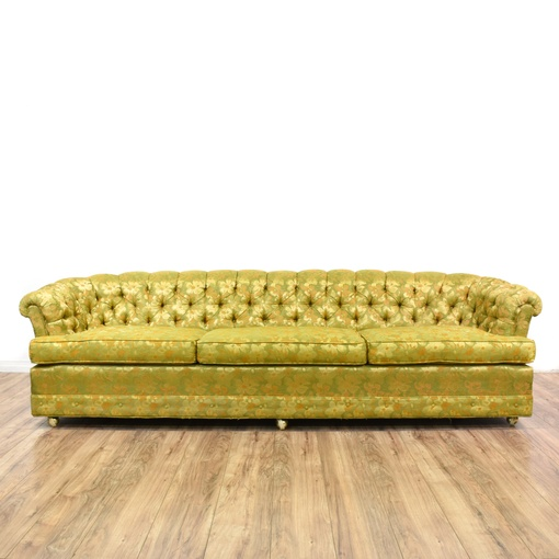 Yellow green floral tufted chesterfield sofa loveseat for 80s floral couch
