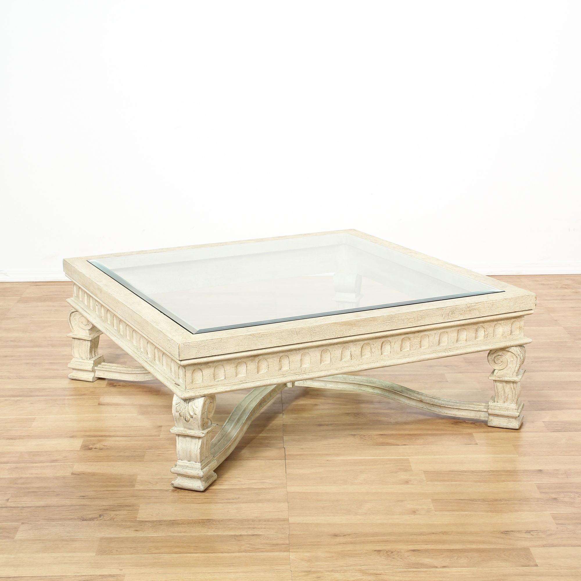 large white carved glass top coffee table loveseat vintage furniture san diego los angeles. Black Bedroom Furniture Sets. Home Design Ideas