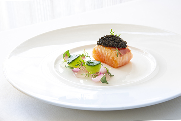 Salmon with aloe vera purée, cucumber, oyster leaf, Ibérico ham and Exmoor caviar