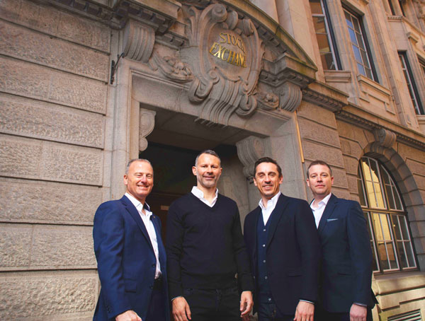 R to L Stock Exchange Hotel co owners Winston Zahra, Ryan Giggs, Gary Neville with GG Hospitality COO Stewart Davies