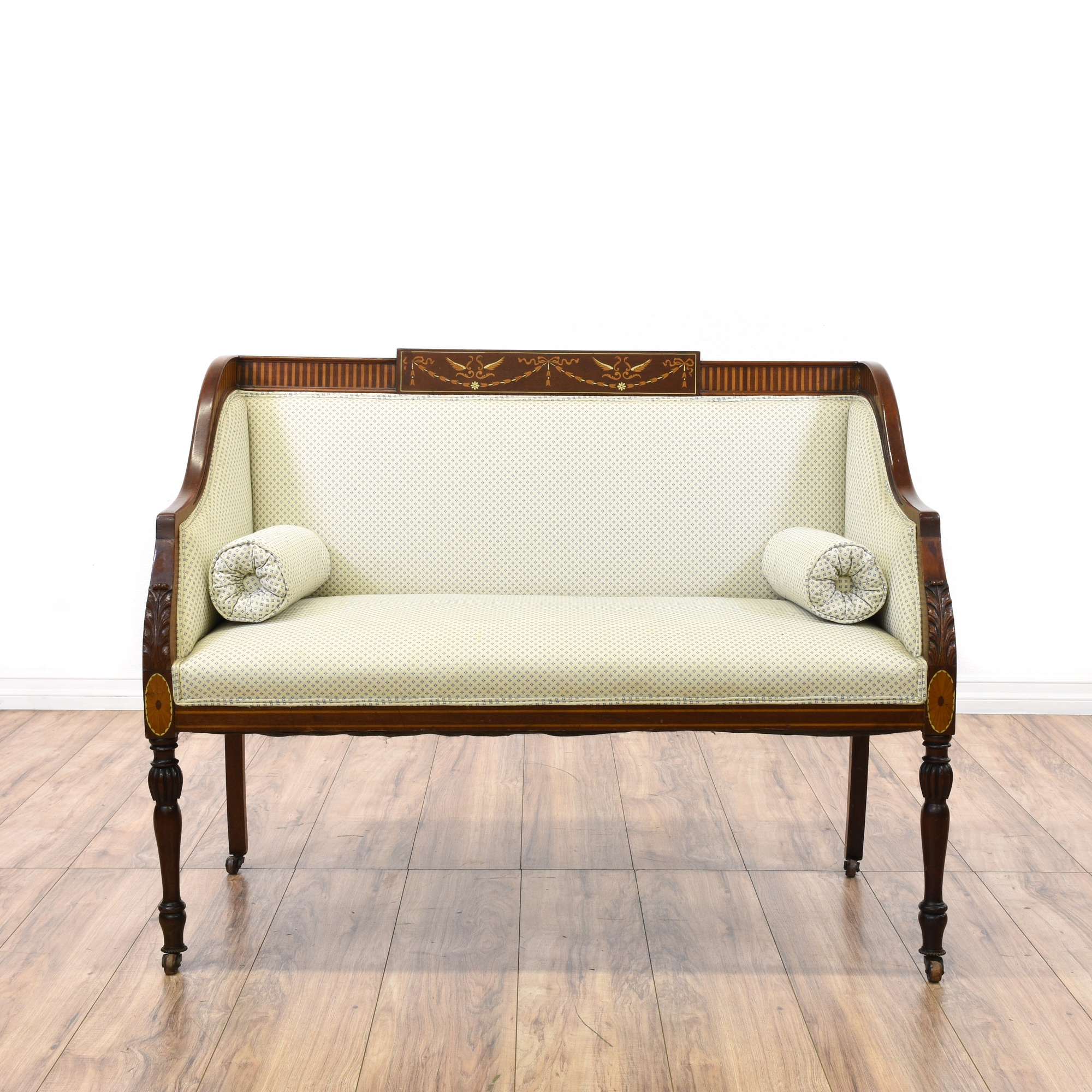 Carved upholstered white loveseat settee sofa loveseat vintage furniture san diego los angeles Upholstered sofas and loveseats