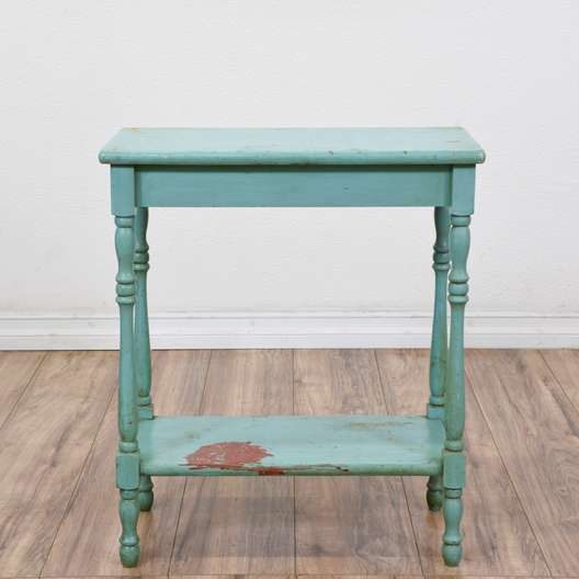 Shabby Chic Blue Carved Side Table
