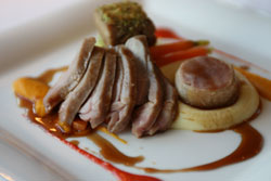 goat with carrot puree and lemon thyme cabbage