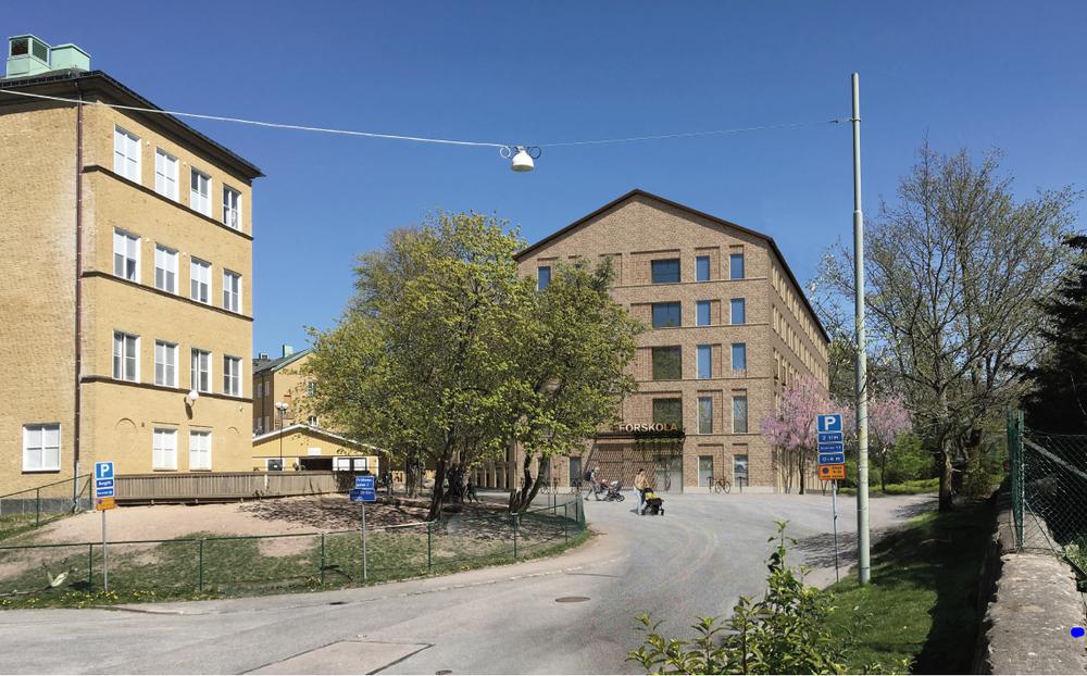 Kombinerad byggnad om studentbostäder, förskola och gemensamhetsytor av Kanozi Arkitekter.