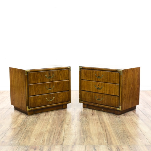 Pair Of Quot Drexel Accolade Quot Campaign Nightstands Loveseat