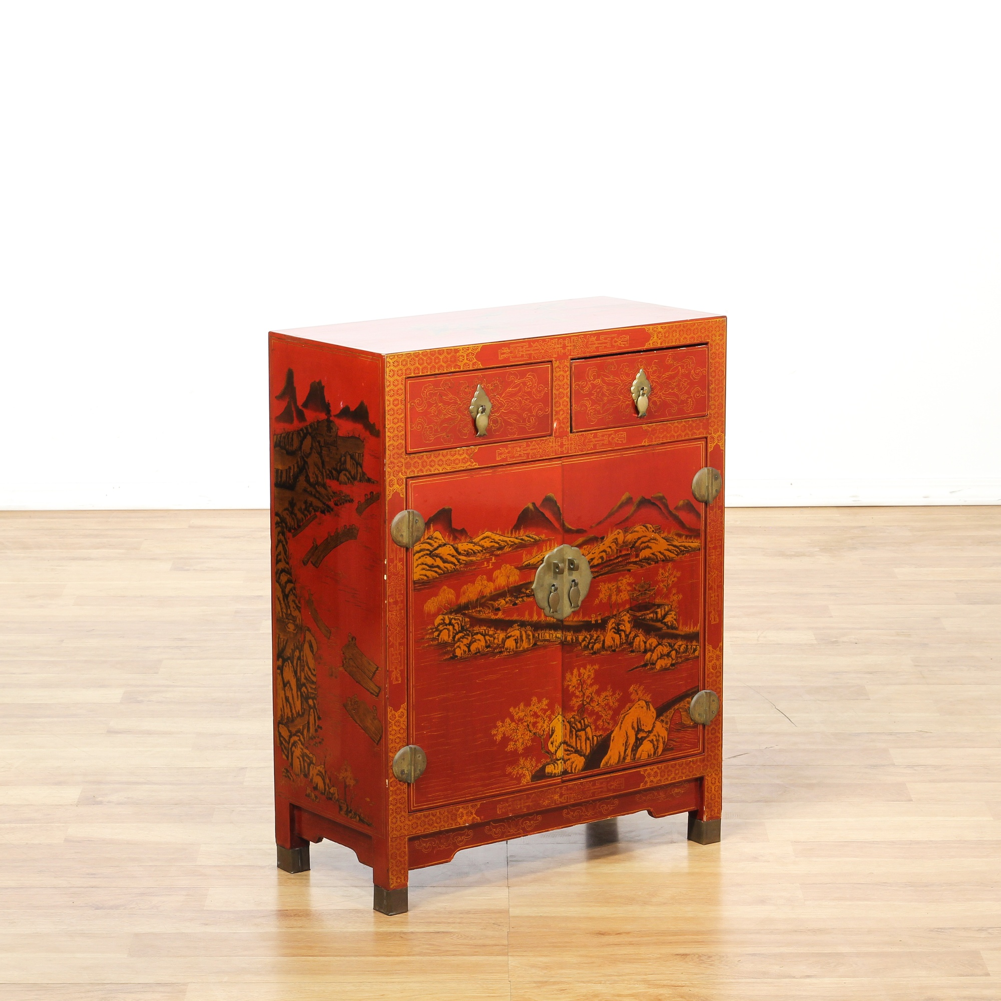 Asian red lacquered bar cabinet loveseat vintage for Oriental furniture los angeles