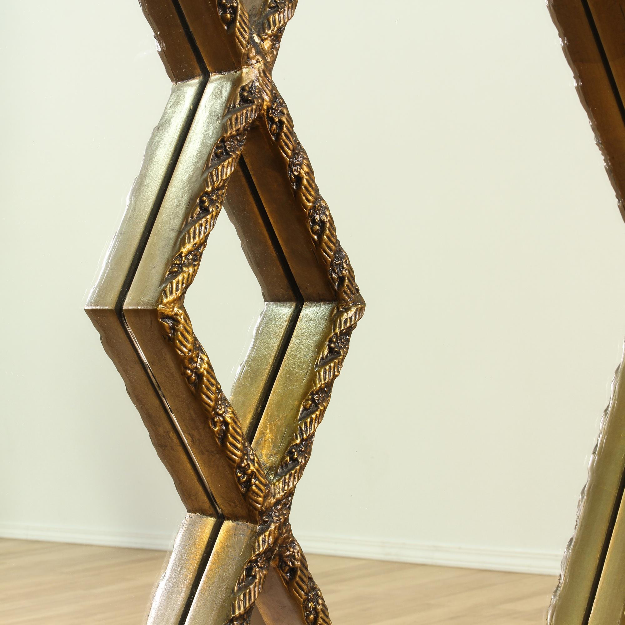 Mid Century Modern Gold Diamond Mirror Loveseat Vintage