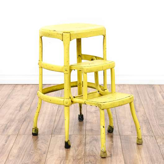 """Yellow Shabby Chic Industrial """"Cosco"""" Step Stool"""