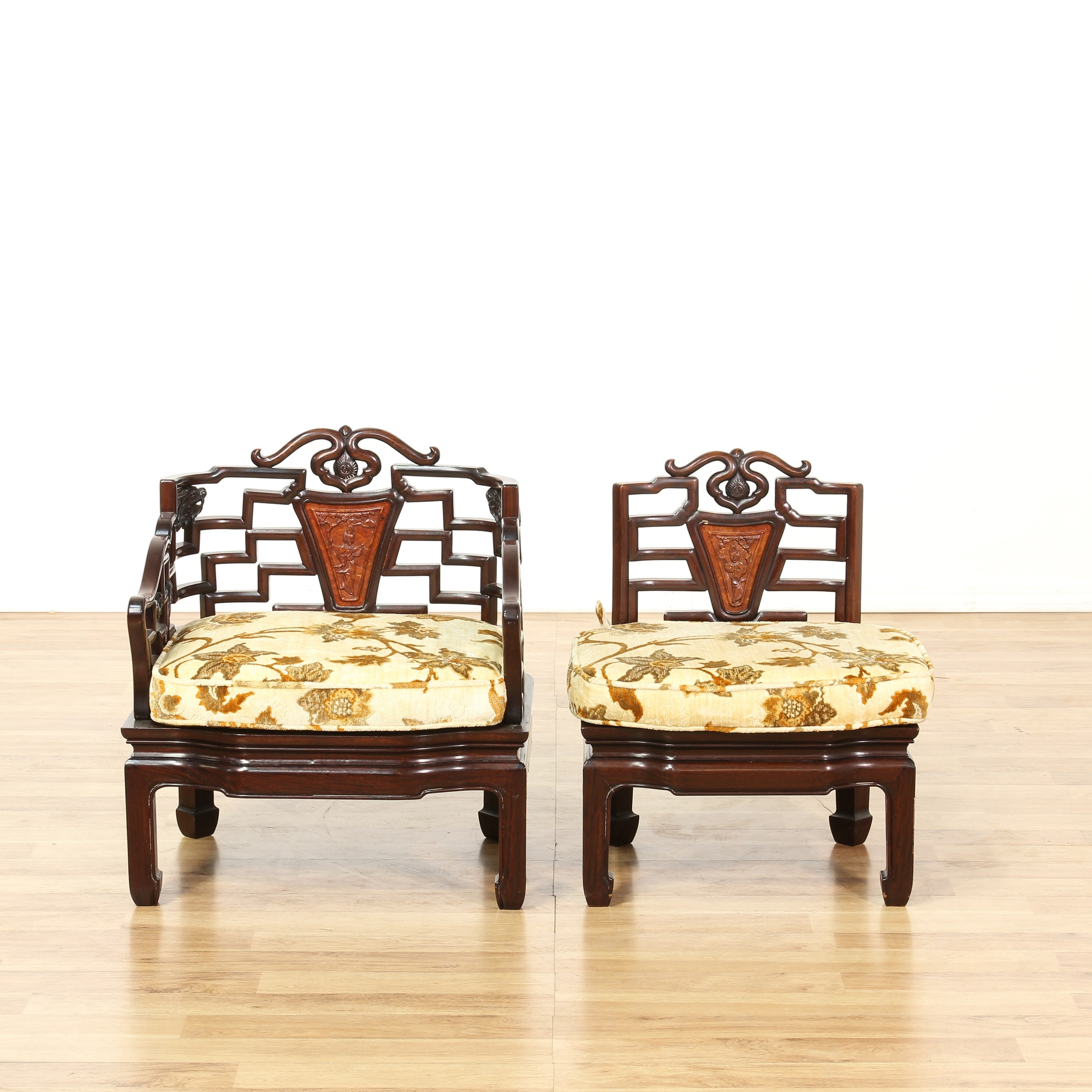 Set of 6 chinese carved rosewood accent chairs loveseat for Oriental furniture los angeles
