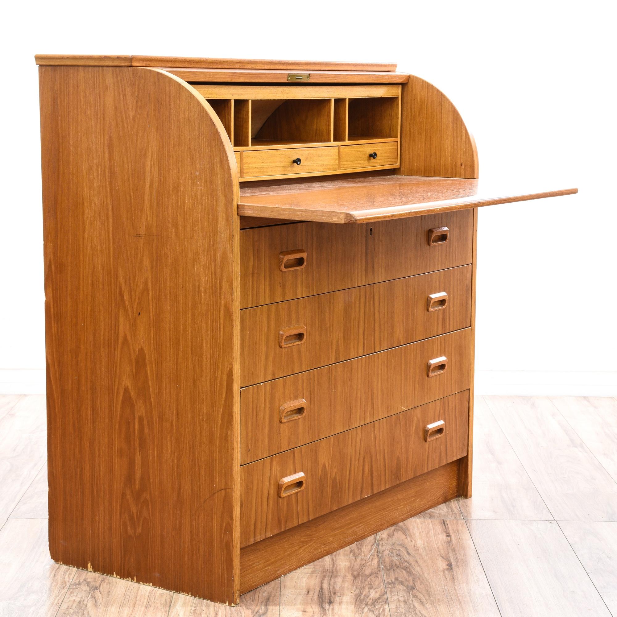 Danish modern teak roll top desk dresser loveseat for Danish modern la