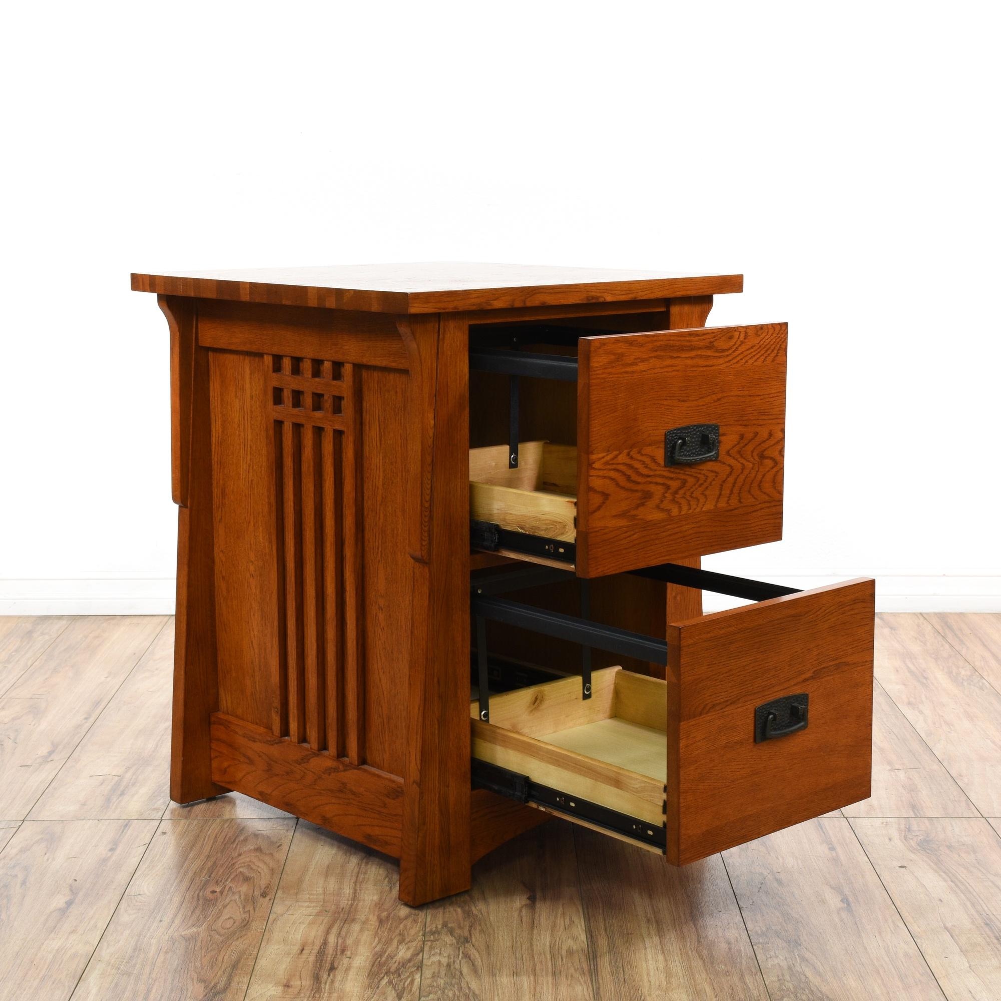 mission style carved oak 2 drawer file cabinet loveseat. Black Bedroom Furniture Sets. Home Design Ideas