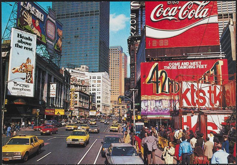 Times Square in New York City in the early 1980s