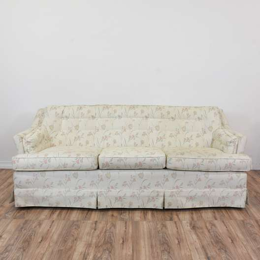 """Cavalier"" White Floral Tufted Sofa"