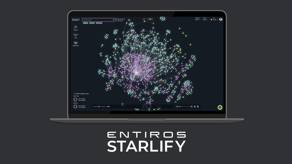 En illustration av en laptop som visar verktyget Entiros Starlify.