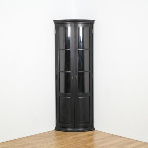 Black Curved Glass Corner Curio Cabinet Loveseat Vintage