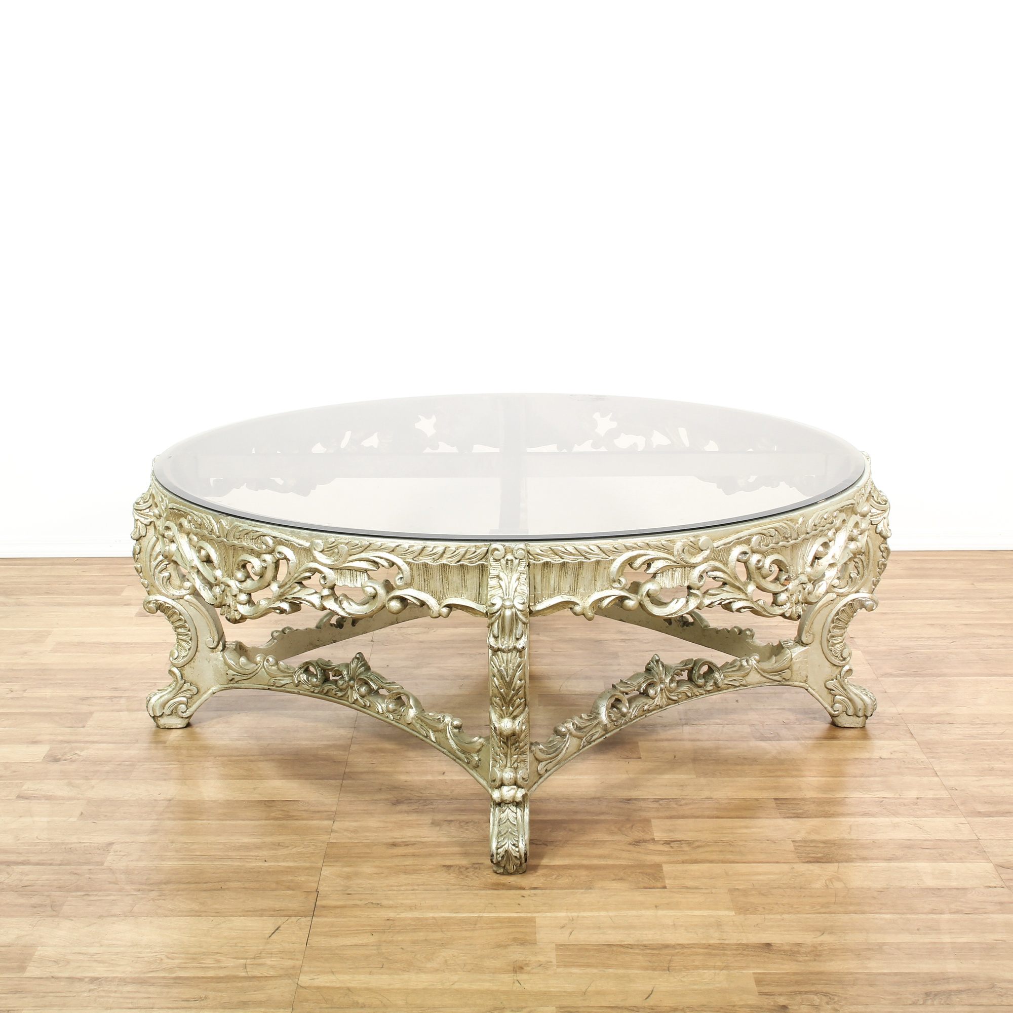 Carved Coffee Table Glass Top Chinese: Cottage Chic Carved Glass Top Coffee Table