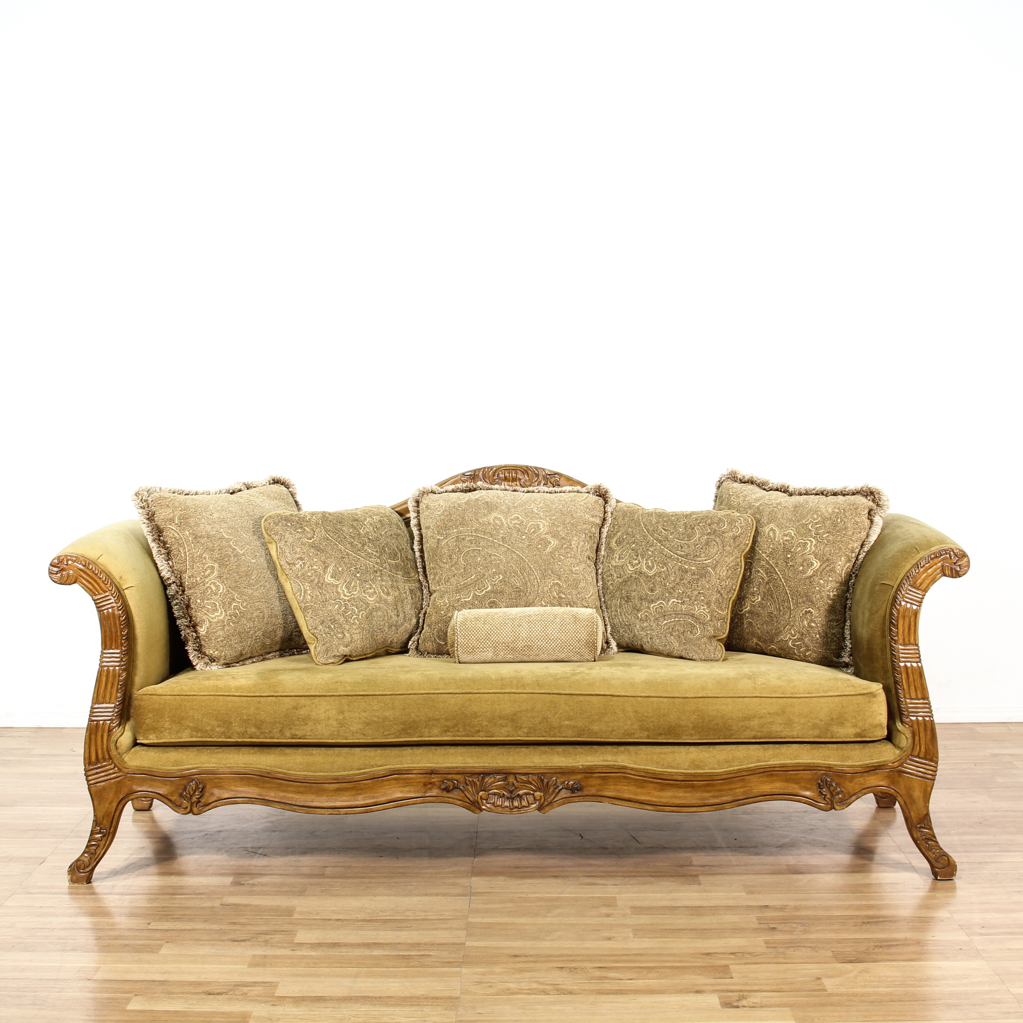 Green Bent Arm Single Cushion Sofa W Wood Trim Loveseat Vintage Furniture San Diego Los Angeles