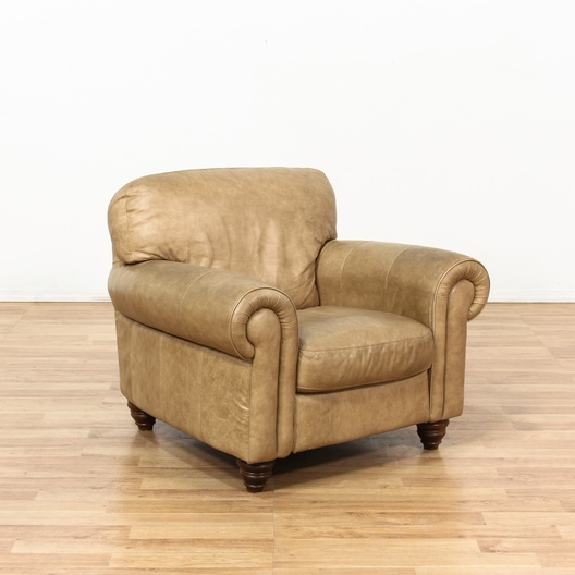 Tan Leather Rolled Arm Amp Studded Oversized Chair