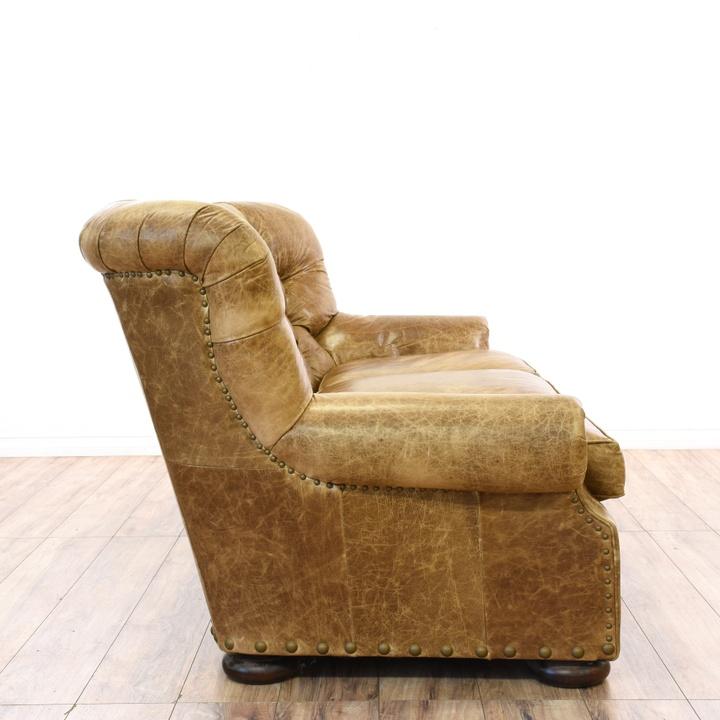 Distressed Brown Leather Tufted Club Sofa Loveseat Vintage Furniture San Diego