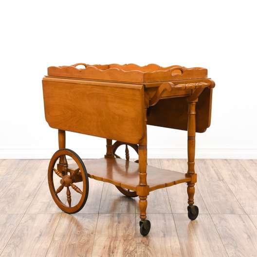 Drop Leaf Tray Top Rolling Tea Cart