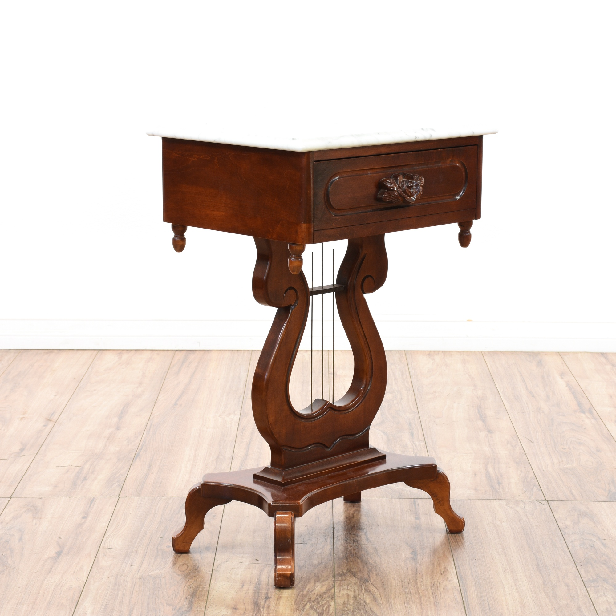 Victorian End Table Victorian Cherry Harp Base Marble Top End Table