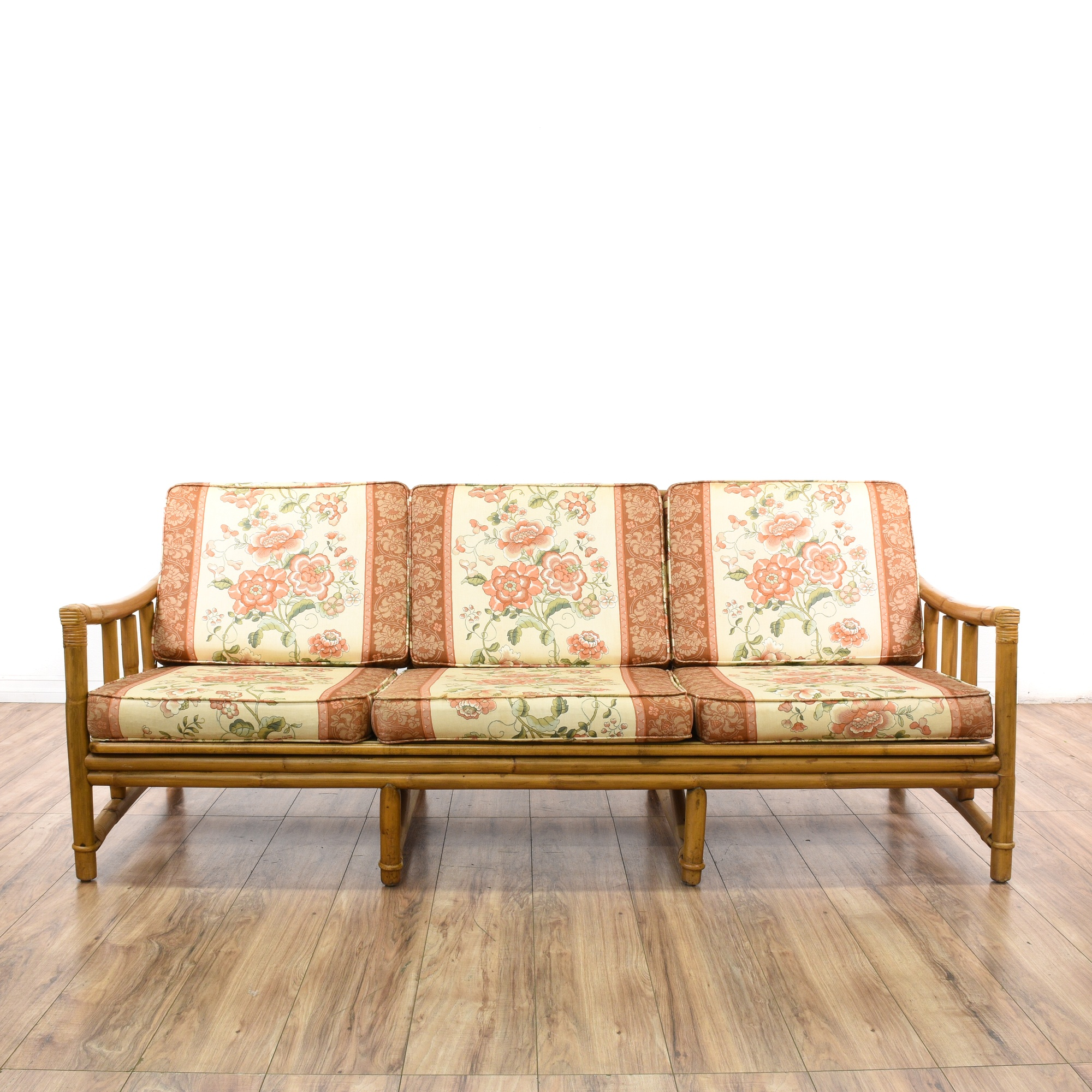 Quot Ficks Reed Co Quot Rattan Peony Floral Sofa Loveseat