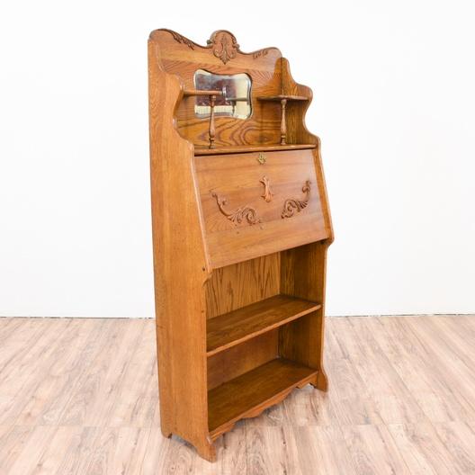 Next - Antique Oak Secretary Desk Bookcase Loveseat Vintage Furniture San