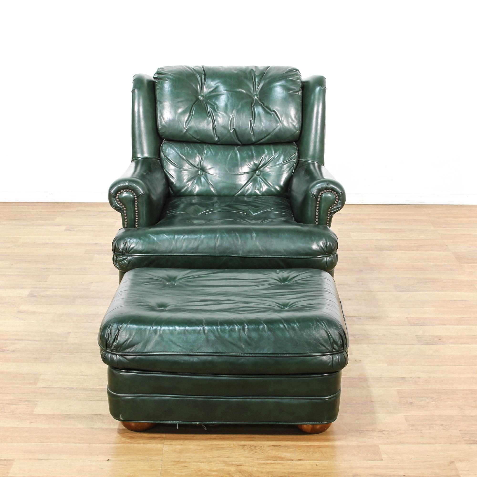Dark Green Leather Upholstered Chair U0026 Ottoman | Loveseat Vintage Furniture  Los Angeles