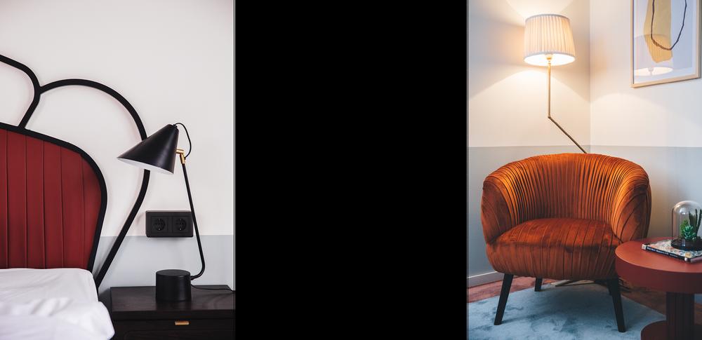Specialdesignad sänggavel och fåtölj som återfinns på nya hotellet Giò i Solna.