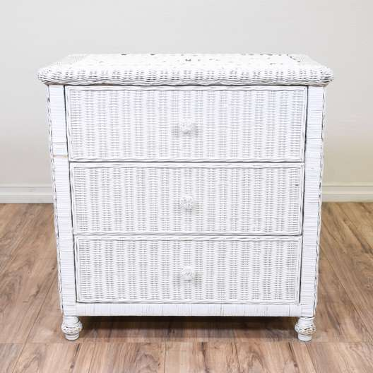 White Wicker Cottage Chic Chest of Drawers