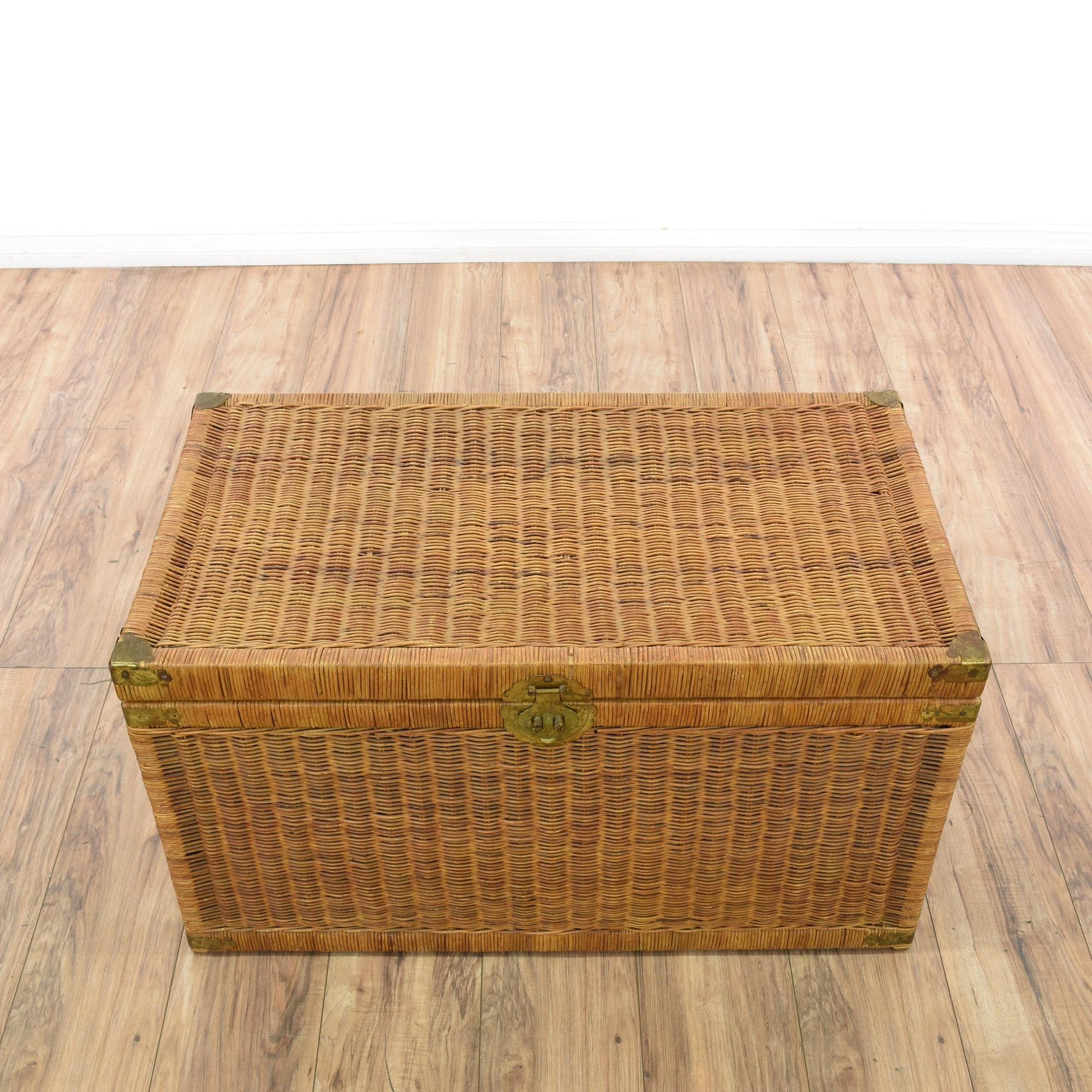 Woven Wicker Tropical Storage Trunk Loveseat Vintage
