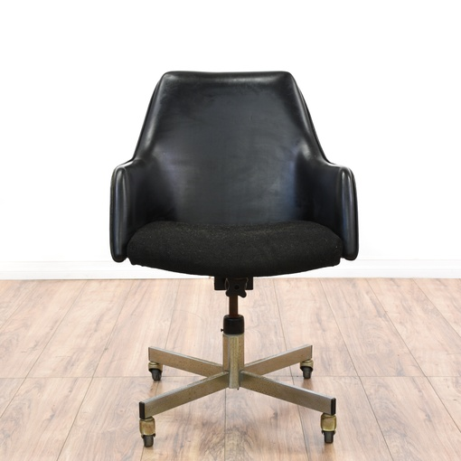 modern black vinyl office chair loveseat vintage furniture san diego